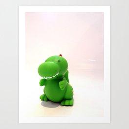 Happy Green Dinosaur Art Print