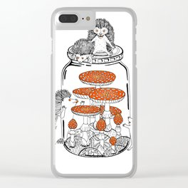 Hedgehog Amanita Mushroom Clear iPhone Case