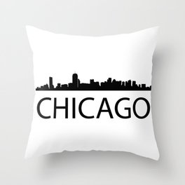 Black silhouette Chicagos with word CHICAGO Throw Pillow