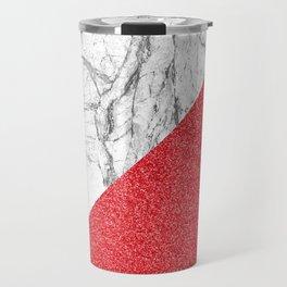 Rose sparkles & white marble Travel Mug