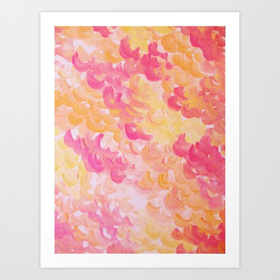 PINK PLUMES - Soft Pastel Wispy Pretty Peach Melon Clouds Strawberry Pink Abstract Acrylic Painting  Art Print