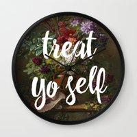 treat yo self Wall Clocks featuring treat yo self by cicelysiller