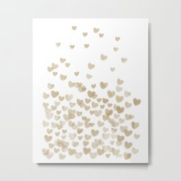 Gold Glitter Hearts - White Background for Valentines Day, Love, Bokeh, for trendy girls cell phone Metal Print