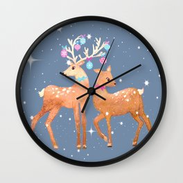 Christmas Deer, reindeer, christmas ornaments, holiday gift, christmas gift, gift for kids, xmas Wall Clock