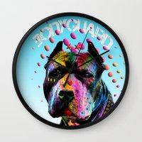pitbull Wall Clocks featuring pitbull  by mark ashkenazi