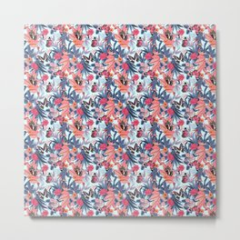 Butterflies and Flowers Floral Funny Gift for Nature Lovers Metal Print
