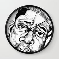biggie smalls Wall Clocks featuring Biggie Smalls Stippling by Tom Brodie-Browne