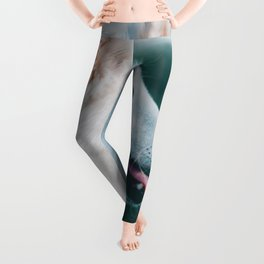 White Wolf Tongue Out (Color) Leggings