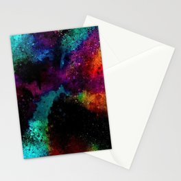 Rainbows and dark outer space in abstract by Jeanpaul Ferro Stationery Cards