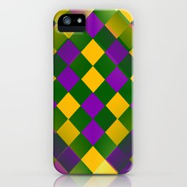 Harlequin Mardi Gras pattern iPhone Case