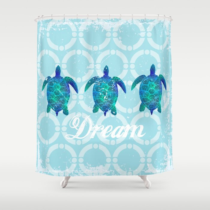 Turtle dream dreamer summer, illustration original painting print Shower Curtain