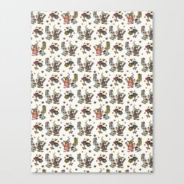 Cute Trendy Gardening Nature Flowers Watering Can Canvas Print