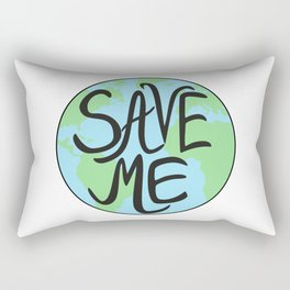Save Me Earth Hand Drawn Rectangular Pillow