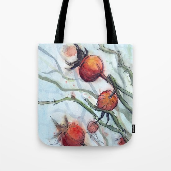 Rose Hips Abstract Watercolor Nature Tote Bag