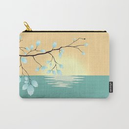 Delicate Asian Inspired Image of Pastel Sky and Lake with Silver Leaves on Branch Carry-All Pouch