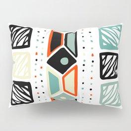 Abstract geometrical black orange ivory green squares polka dots Pillow Sham