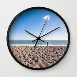 A woman and her cloud (Irish beach) Wall Clock
