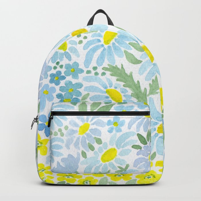 Watercolor . Chamomile field. 1 Backpack