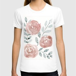 Antique Roses, Peach, Pink, Blush Watercolor Flowers T-shirt