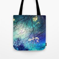 night sky Tote Bags featuring night sky by Sylvia Cook Photography