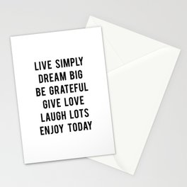 Live simply quote Stationery Cards