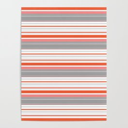 Orange Butterfly Coordinating Stripe Poster