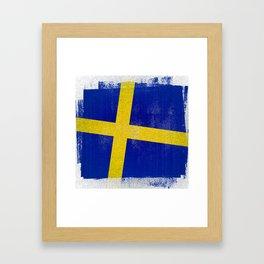 Swedish Distressed Halftone Denim Flag Framed Art Print