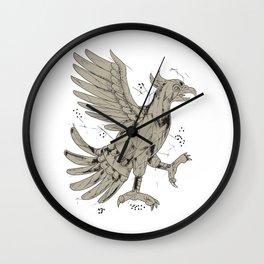 Cuauhtli Glifo Eagle Symbol Low Polygon Wall Clock