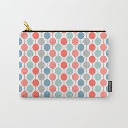 Coral Geometric Circles Retro Mid Century Modern Carry-All Pouch