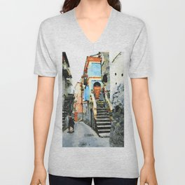 Old woman in the alley with stairs and blue building Unisex V-Neck