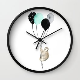 Sloth with Balloons Wall Clock