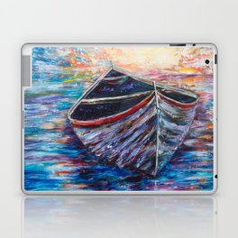 Wooden Boat at Sunrise - original oil painting with palette knife #society6 #decor #boat Laptop & iPad Skin