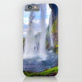 Behind Seljalandsfoss Waterfall in Iceland (1) iPhone Case