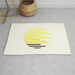 Mid Century Modern Minimalist Circle Photo Yellow Staggered Stripe Pattern Rug