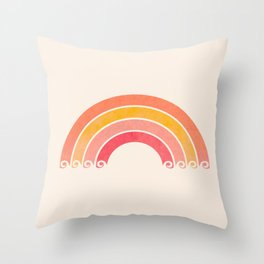 Whimsical Vintage Rainbow Waves Throw Pillow