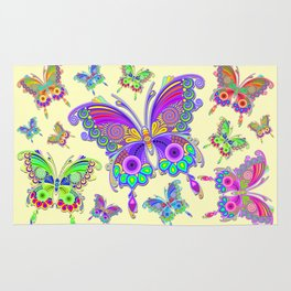 Butterfly Colorful Tattoo Style Pattern Rug