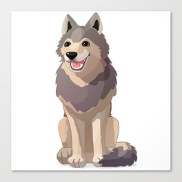 Happy gray wolf. Vector graphic character Canvas Print