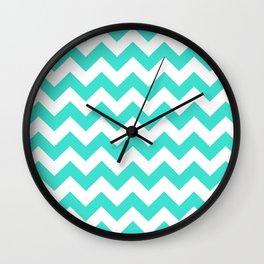 Chevron (Turquoise/White) Wall Clock