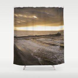 Folly Beach Pier in Gold Shower Curtain
