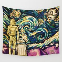 starwars Wall Tapestries featuring StarWars Night by Fknjedi1