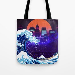 Synthwave Space: The Great Wave off Kanagawa #4 Tote Bag