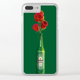 Dudes Love Roses (Green) Clear iPhone Case
