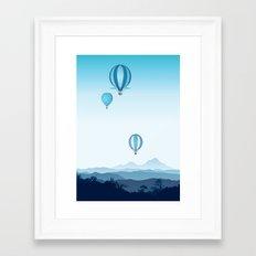 Hot air balloons - blue mountains Framed Art Print