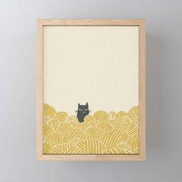 Cat and Yarn Framed Mini Art Print