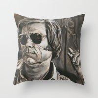 phil jones Throw Pillows featuring Jones by Buddy Owens Paintings