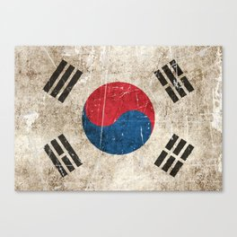Vintage Aged and Scratched South Korean Flag Canvas Print