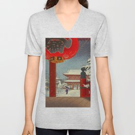 Tsuchiya Koitsu A Winter Day at The Temple Asakusa Vintage Japanese Woodblock Print Unisex V-Neck