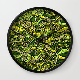 Snakes green plants plant pattern Wall Clock