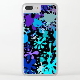 Blue Paint Splatters Clear iPhone Case