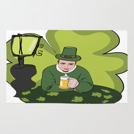 St Patricks Day Man with Beer Rug